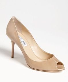 Jimmy Choo Evelyn Patent Leather Peep-Toe Pump NUDE MADE IN ITALY Size 9 IT 39.5