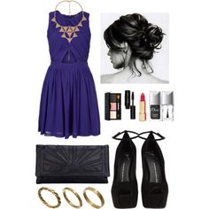 A fashion look from September 2013 featuring robe sans manches, chaussures à plate-forme et blue evening purse. Browse and shop related looks.