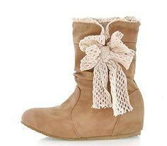 MEXI Frauen Wedge Flache Schuhe Stiefel aus Wildleder Bowknot-Frauen-Absatz-reizvolle Dame Boots Beige Tie Bow Pump Platform Ankle Schuhe - http://on-line-kaufen.de/mexi-2/mexi-frauen-wedge-flache-schuhe-stiefel-aus-dame-3