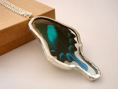 TWO SIDED Real Butterfly Wing Pendant by LaraMichelleMakings, $55.00