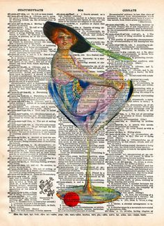 Cool Bar art, Girl in martini glass, Lovely Cocktail Girl, early 1900's illustration,  vintage dictionary page book art print