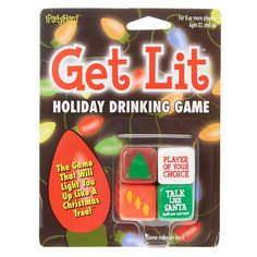 Add hilarity to your holiday party with this dice drinking game. These four dice will light you up like a Christmas tree as they prompt you to take sips and complete funny tasks. It's all fun and games, but please drink responsibly.