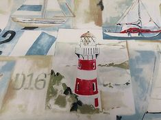 Yachts-Sailing-Light-House-Cotton-Curtain-Craft-Fabric