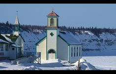 The two churches in a Community in north Canada on the edge of the Mackenzie River