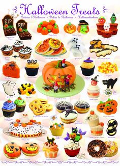 YUMMY...This Halloween Treats jigsaw puzzle features all sorts of delicious goodies! What would you reach for? Hands off the tombstone brownies, they're mine, LOL! #halloweenbaking