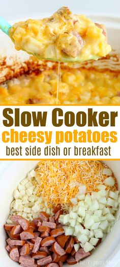 Slow cooker cheesy potatoes are a great breakfast, brunch or dinner too! Cheesy with diced sausage it's a hearty meal your while family will love for sure.  #slowcooker #cheesy #crockpot #potatoes #breakfast #sausage #brunch #dinner #potato