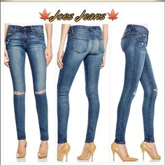 "Last onePerfect Fall JeanJoes Skinny jeans  A touch of distressed detail infuses these love-forever, leg-lengthening skinny jeans from Joe's Jeans with an urban-cool twist. Cotton/polyester/Lycra Zip fly with button closure, belt loops, five-pocket silhouette, mid-rise Tan stitching, copper-tone hardware, shred detail, fading and whiskering 8"" rise, 31"" inseam, 9"" leg opening. Selling full price today Joe's Jeans Jeans Skinny"