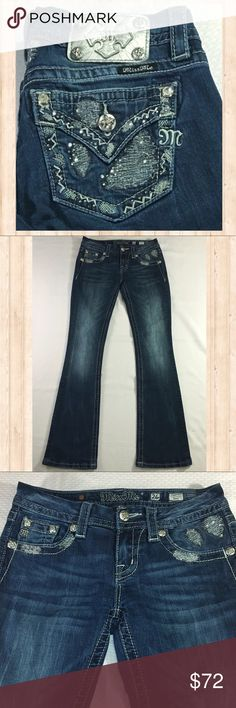 """Miss Me """"Signature Boot"""" silver bling back jeans Miss Me """"Signature Boot"""" silver bling back jeans. Inseam: 32.5"""" Waist: 14"""" Rise: 7.5"""" Leg Opening: 8"""" Miss Me Jeans Boot Cut"""