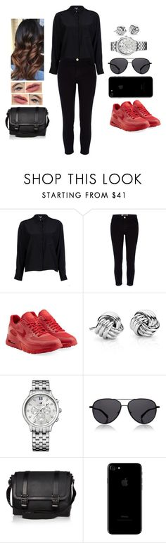 """Czerwone i czarne"" by teodoramaria98 ❤ liked on Polyvore featuring Vince, River Island, NIKE, Blue Nile, Tommy Hilfiger and The Row"