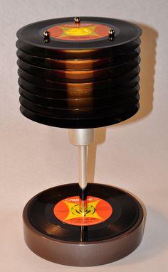 Upcycled 45 record lamp. $125.00, via Etsy. http://www.etsy.com/listing/90864425/upcycled-45-record-lamp