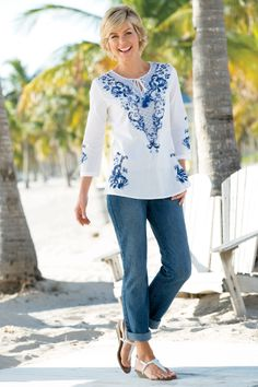 Border Print Cotton Tunic | Chadwicks of Boston Summer 2014 Collection