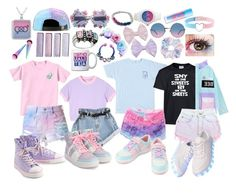 """""""Pastel Bi Pride"""" by cartoonvillian ❤ liked on Polyvore featuring Glamour Kills, Levi's, A-Morir by Kerin Rose, Hot Topic, Marc Jacobs and Maybelline"""