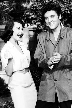 """Elvis and Judy Tyler photographed on the set of """"Jailhouse Rock"""", 1957."""