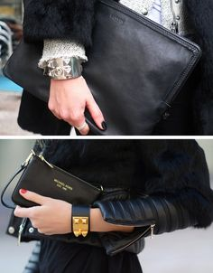 hermes bracelet/ black clutches / hint of fur Hermes Jewelry, Hermes Bracelet, Bracelets, Daily Fashion, Mens Fashion, Layered Jewelry, Black Clutch, Glitz And Glam, Leather Accessories