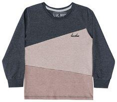 c36d0c21e6 Camiseta manga longa infantil Luc.boo tricolor chumbo marrom
