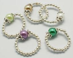 Fashion Glass Pearl Stretch Ring, with Iron Beads
