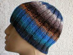 Ribbed beanie hat in blue, grey, oatmeal, rust brown stripes. An ideal hat biker, skateboarders, skiers, etc.