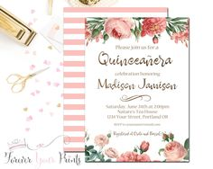 Quinceañera Birthday Invitation, Floral Birthday Invitation, Girls 15th Birthday Invite, Glam Birthday, Printed Invitation, Coral, Chic by ForeverYourPrints on Etsy https://www.etsy.com/listing/452688394/quinceanera-birthday-invitation-floral