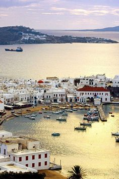 Mykonos harbor, Greek island, Cyclades, Greece - Travel inspiration and places to visit - Greece Itinerary, Greece Travel, Greece Vacation, Travel Europe, Santorini, Mykonos Greece, Mykonos Island, Greece Sea, Crete Greece