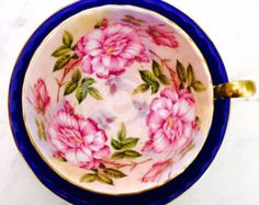 RESERVED FOR A-Aynsley Cabbage Rose Cobalt Blue Tea Cup and Saucer - Edit Listing - Etsy