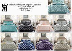 Madison Park Merritt Reversible Complete Comforter and Cotton Sheet Set  | eBay