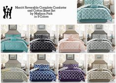 Madison Park Merritt Reversible Complete Comforter and Cotton Sheet Set Comforter Sets, Bedding, Cotton Sheet Sets, Tropical Decor, Quilt Sets, Kidsroom, Your Space, Comforters, Pillow Cases