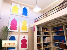 Ep 20 spare room design challenge gallery | The Living Room Australia I love the colorful frames on the wall
