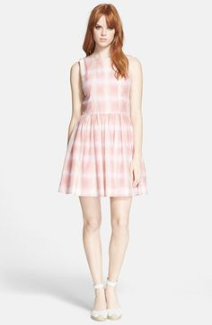MARC BY MARC JACOBS Grid Print Cotton & Silk Fit & Flare Dress | Nordstrom