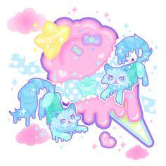 Melty Sugar Kittens by MissJediflip on DeviantArt Doodle Art Drawing, Art Drawings, Kawaii Art, Kawaii Anime, Pastel Goth Art, Chibi, Illustrator Cs6, Neon Rainbow, Kawaii Wallpaper