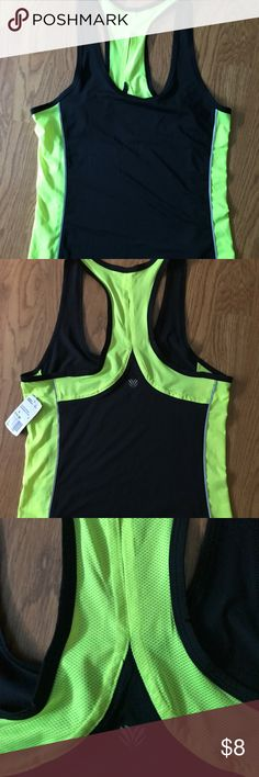 Forever 21 Small Workout Tank! NWT Bright neon green/yellow and black small workout top. Paneling on sides and a small keyhole cut on the back shown in pictures. Never worn great condition! Forever 21 Tops Tank Tops
