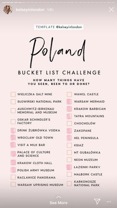 Poland Bucket List : Poland Bucket ListYou can find Poland and more on our website. Travel Checklist, Travel List, Travel Goals, List Challenges, Poland Travel, Future Travel, Trip Planning, Adventure Travel, Places To Travel