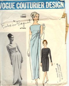 vintage 1963 Frederico Forquet evening ensemble, Vogue Couturier Design