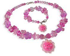 Twinkelbell Kindersieraden, kinderketting en armband met roze zonnetje.