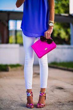 Bright pink clutch. Bright blue shirt. White skinny pants. Fun shoes.
