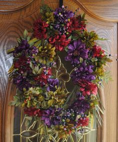 Fall Wreaths For Front Door   Autumn Wreath, Fall Jewel, Front Door Wreath with FREE SHIPPING