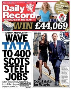 Front page of Daily Record. Former Rangers owner appears in court. By James Chapelard