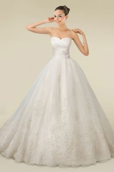 Awesome Lustrous Ball Gown Wedding Dress with Floral Motifs