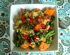 Quinoa, Brussels Sprouts, Kale and Sweet Potato Salad with Pomegranate Seeds