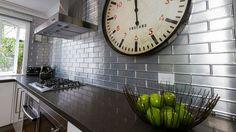 Pressed Tin Panels manufacture a range of practical decorative metal panelling and splashbacks. Prep Kitchen, Kitchen Dinning, Kitchen Reno, Kitchen Tiles, Diy Kitchen, Kitchen Design, Room Freshener, Pressed Metal, Ceiling Panels