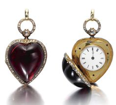 A Very Rare Gold, Garnet, Enamel And Diamond Set Cylinder Watch In The For Of A Heart c.1863