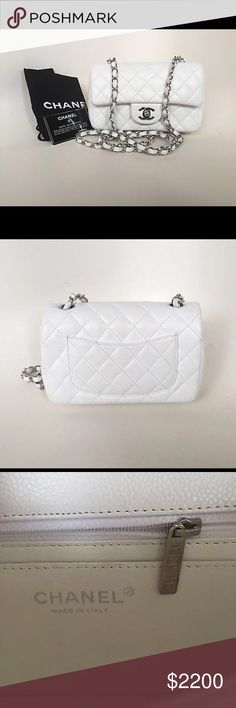 Chanel Rectangle Small Classic Caviar Flap Bag Brand New 100% Authentic Chanel Rectangular New Mini White Small Classic Caviar Flap Bag CHANEL Bags Shoulder Bags