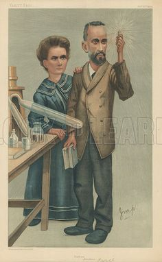 Buy image for personal use. ~$3  Mr Pierre and Mrs Marie Curie, Radium, 22 December 1904, Vanity Fair cartoon.
