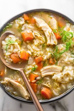 Lemony Chicken and Rice Soup - Baker by Nature - Sandwich Recipes Soup Recipes, Chicken Recipes, Dinner Recipes, Cooking Recipes, Healthy Recipes, Whole30 Recipes, Healthy Soup, Healthy Desserts, Crockpot Recipes