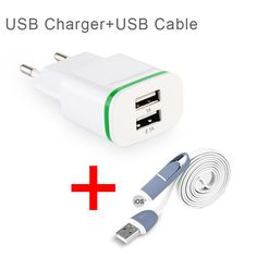EU Plug Wall Adapter USB 2-Ports LED Light Charger + 2in1 USB Cable Charging For iPhone for Huawei for Cell Phone USB Charger