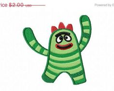 SALE - 4X4 Green Striped Monster Machine Embroidery Design Multiple Formats Available - Instant Download