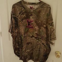 Bucked up t-shirt Camouflage w/ pink Tops Tees - Short Sleeve