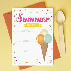 Printable Summer Party Invitation. Type in your details in Acrobat and Print! www.lovevsdesign.com