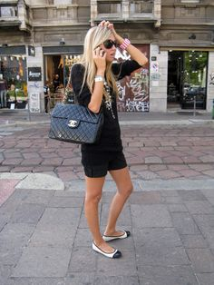 Chanel Necklace, H&M Long Tshirt, H&M Black Shorts, Tarina Tarantino Bracelet, Tom Ford Sunglasses, Chanel Jumbo Black, Black And White Flats