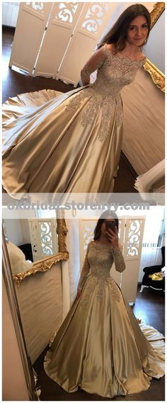 Off Shoulder Long Sleeve Gold A line Sparkly Evening Prom Dresses, Popular Sweet 16 Party Prom Dresses, Custom Long Prom Dresses, 16039