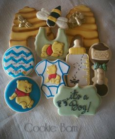 Winne The Pooh Baby Shower Cookies   Will try to duplicate a few of these!